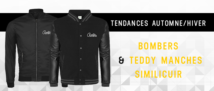 bombers et teddy en manches similicuir